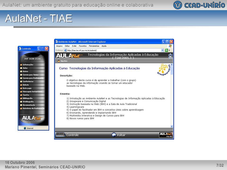 AulaNet: um ambiente gratuito para educação online e colaborativa Mariano Pimentel, Seminários CEAD-UNIRIO 7/32 16 Outubro 2006 AulaNet - TIAE