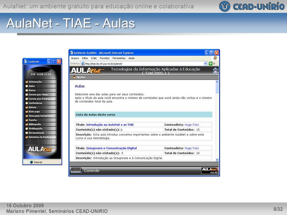 AulaNet: um ambiente gratuito para educação online e colaborativa Mariano Pimentel, Seminários CEAD-UNIRIO 8/32 16 Outubro 2006 AulaNet - TIAE - Aulas