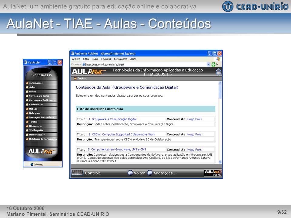 AulaNet: um ambiente gratuito para educação online e colaborativa Mariano Pimentel, Seminários CEAD-UNIRIO 9/32 16 Outubro 2006 AulaNet - TIAE - Aulas