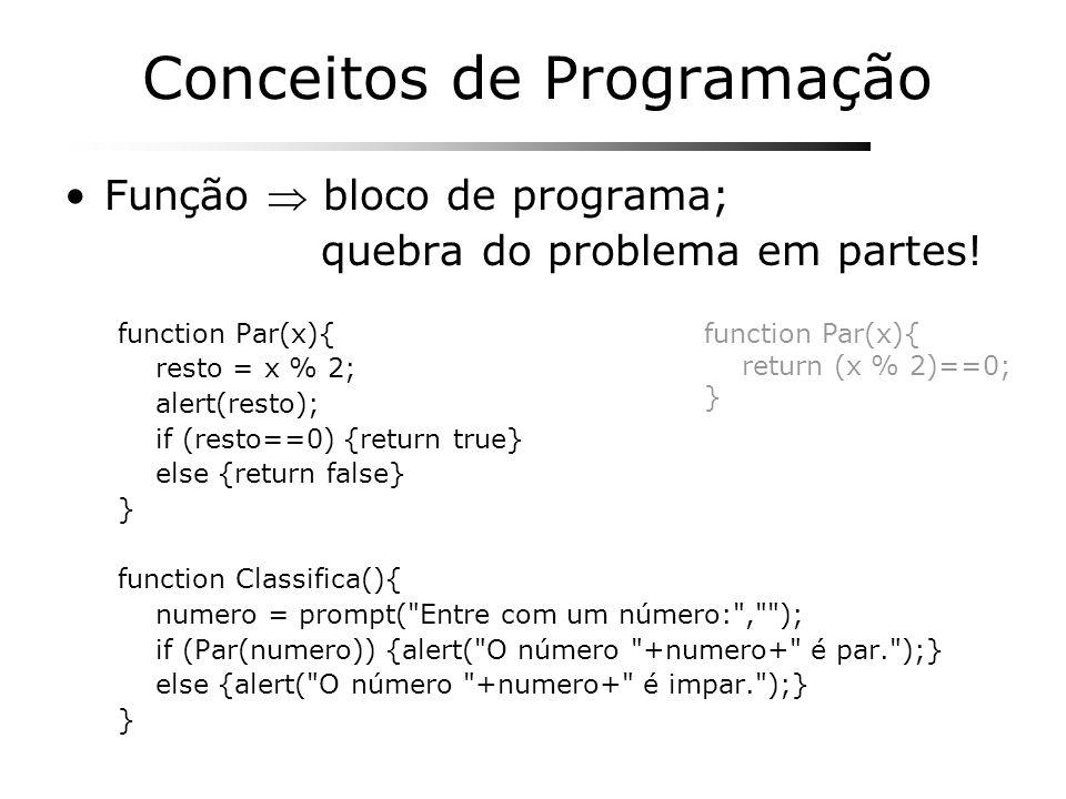 Conceitos de Programação Função bloco de programa; quebra do problema em partes! function Par(x){ resto = x % 2; alert(resto); if (resto==0) {return t