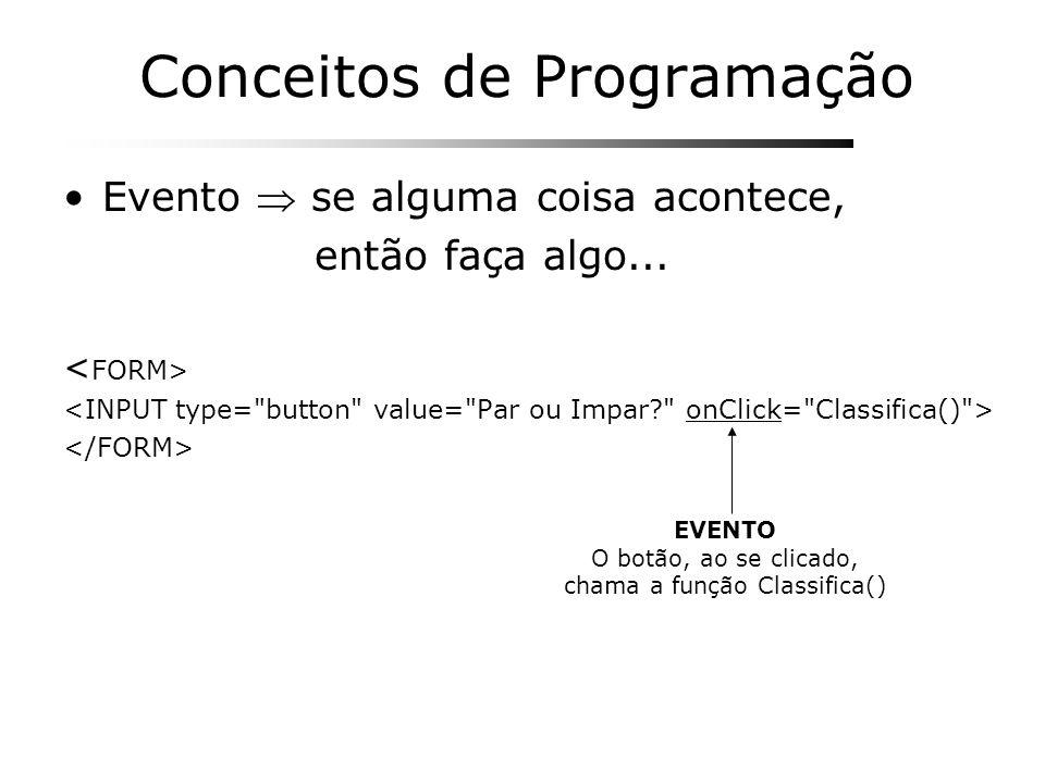 Conceitos de Programação Evento se alguma coisa acontece, então faça algo... EVENTO O botão, ao se clicado, chama a função Classifica()