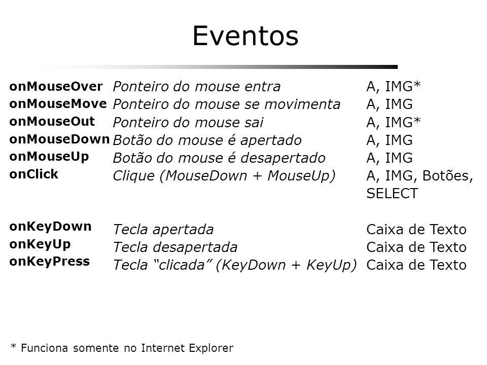 Eventos A, IMG* A, IMG A, IMG* A, IMG A, IMG, Botões, SELECT Caixa de Texto Ponteiro do mouse entra Ponteiro do mouse se movimenta Ponteiro do mouse s
