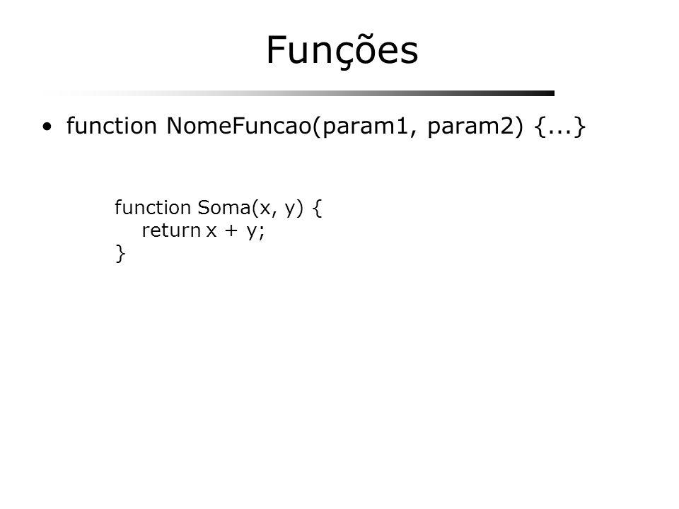 Funções function NomeFuncao(param1, param2) {...} function Soma(x, y) { return x + y; }