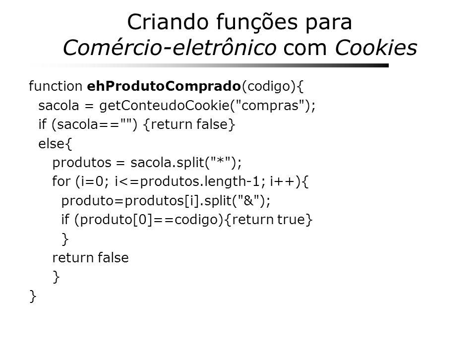 Criando funções para Comércio-eletrônico com Cookies function ehProdutoComprado(codigo){ sacola = getConteudoCookie(