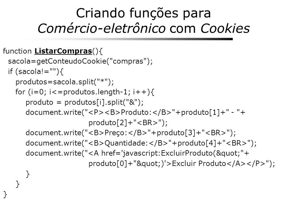 Criando funções para Comércio-eletrônico com Cookies function ListarCompras(){ sacola=getConteudoCookie(