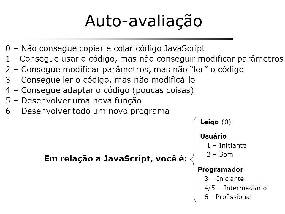 Usuário 1 – Iniciante 2 – Bom Programador 3 – Iniciante 4/5 – Intermediário 6 - Profissional Em relação a JavaScript, você é: Leigo (0) 0 – Não conseg