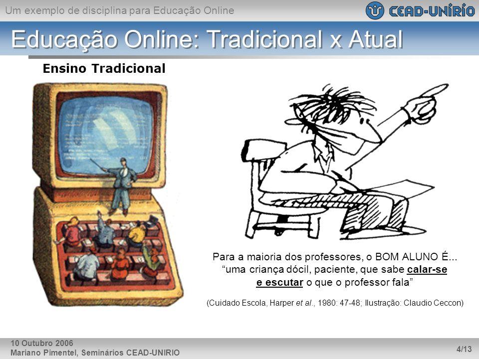 Um exemplo de disciplina para Educação Online Mariano Pimentel, Seminários CEAD-UNIRIO 4/13 10 Outubro 2006 Educação Online: Tradicional x Atual Ensin