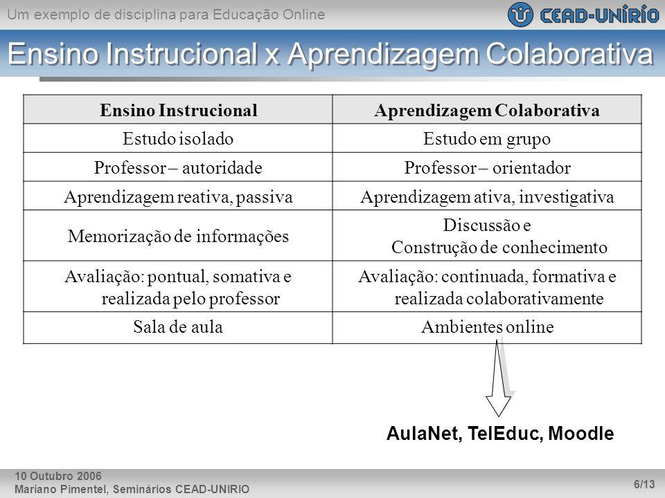 Um exemplo de disciplina para Educação Online Mariano Pimentel, Seminários CEAD-UNIRIO 6/13 10 Outubro 2006 Ensino Instrucional x Aprendizagem Colabor