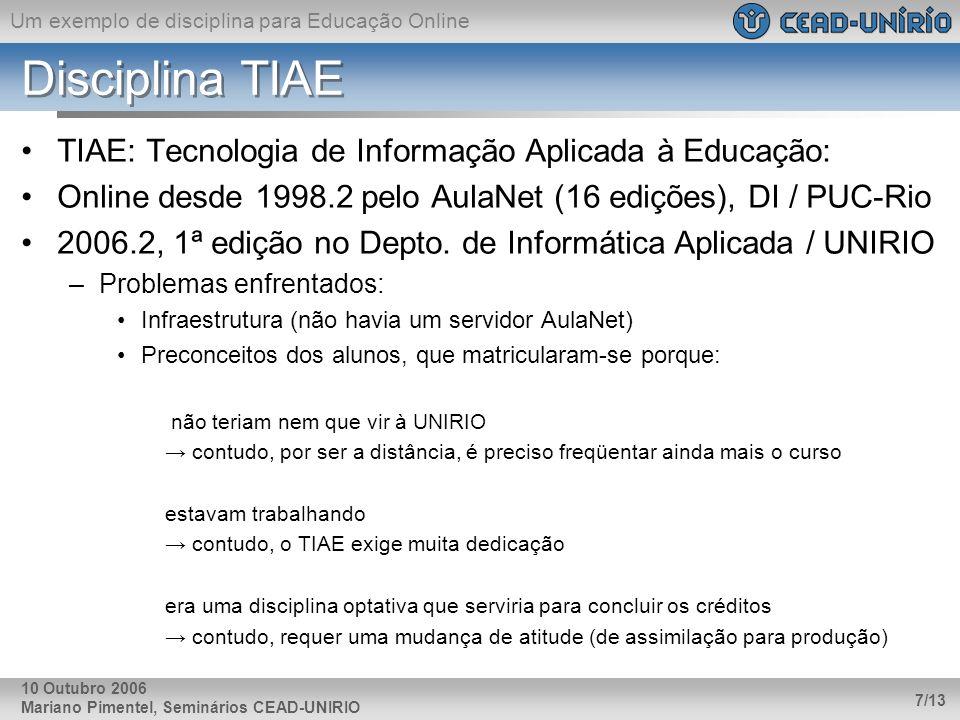 Um exemplo de disciplina para Educação Online Mariano Pimentel, Seminários CEAD-UNIRIO 7/13 10 Outubro 2006 Disciplina TIAE TIAE: Tecnologia de Inform