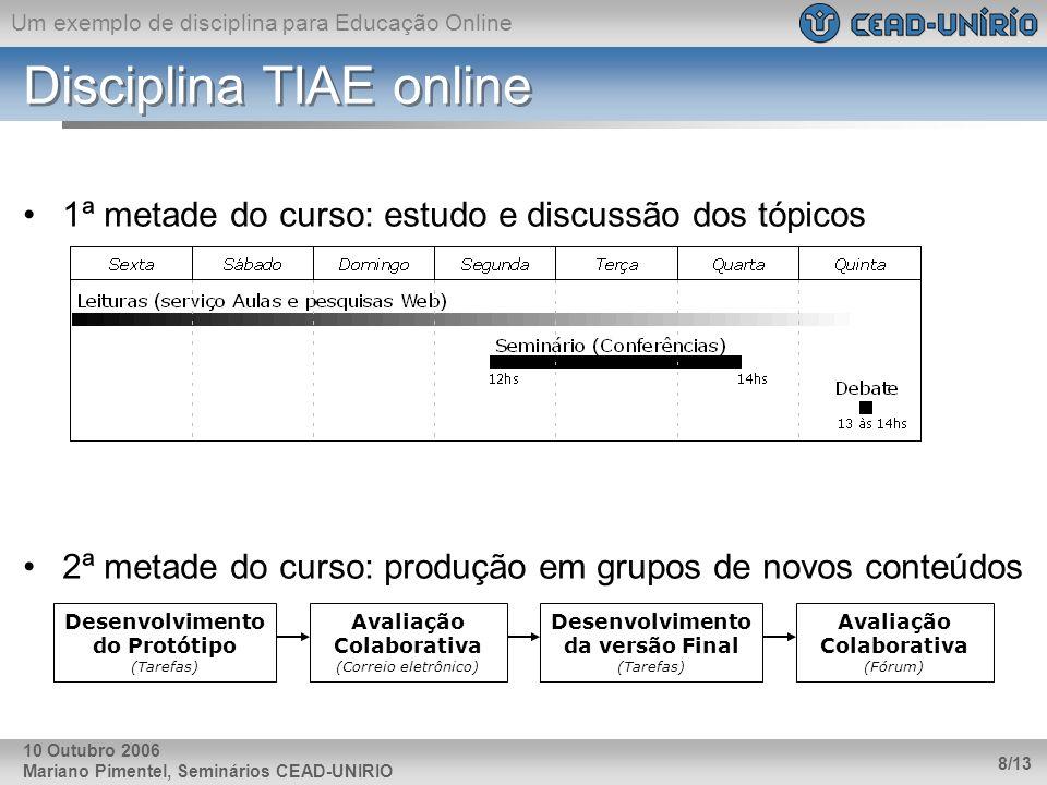 Um exemplo de disciplina para Educação Online Mariano Pimentel, Seminários CEAD-UNIRIO 8/13 10 Outubro 2006 Disciplina TIAE online 1ª metade do curso: