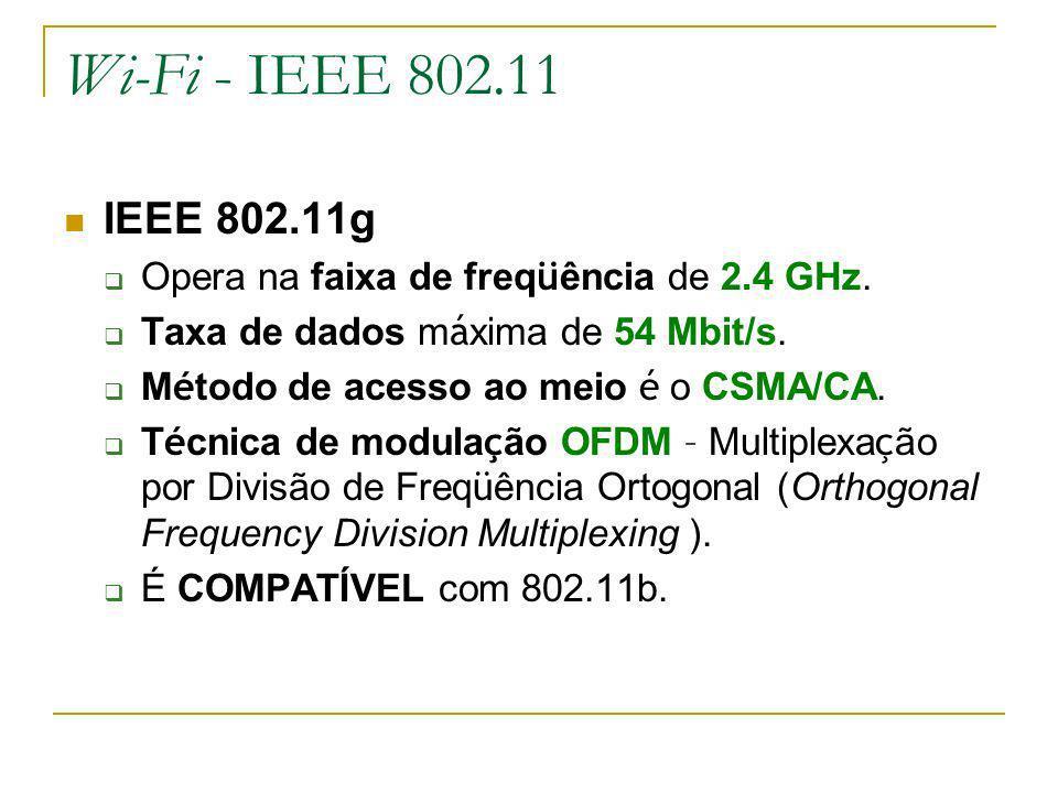 Wi-Fi - IEEE 802.11 IEEE 802.11g Opera na faixa de freq ü ência de 2.4 GHz.
