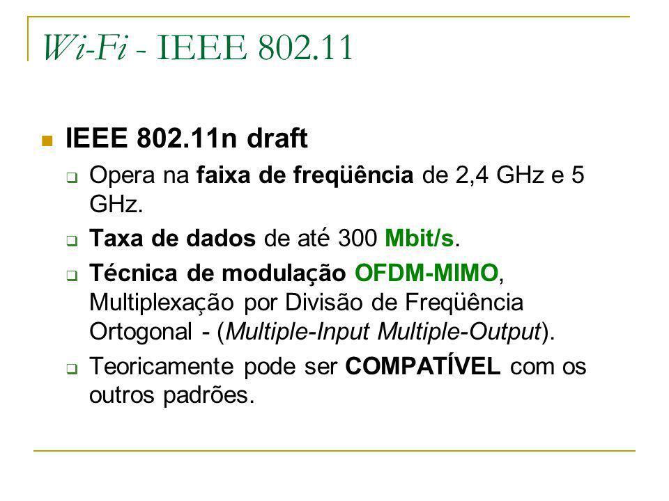 Wi-Fi - IEEE 802.11 IEEE 802.11n draft Opera na faixa de freq ü ência de 2,4 GHz e 5 GHz.