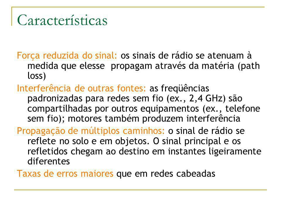 Características Força reduzida do sinal: os sinais de rádio se atenuam à medida que elesse propagam através da matéria (path loss) Interferência de outras fontes: as freqüências padronizadas para redes sem fio (ex., 2,4 GHz) são compartilhadas por outros equipamentos (ex., telefone sem fio); motores também produzem interferência Propagação de múltiplos caminhos: o sinal de rádio se reflete no solo e em objetos.