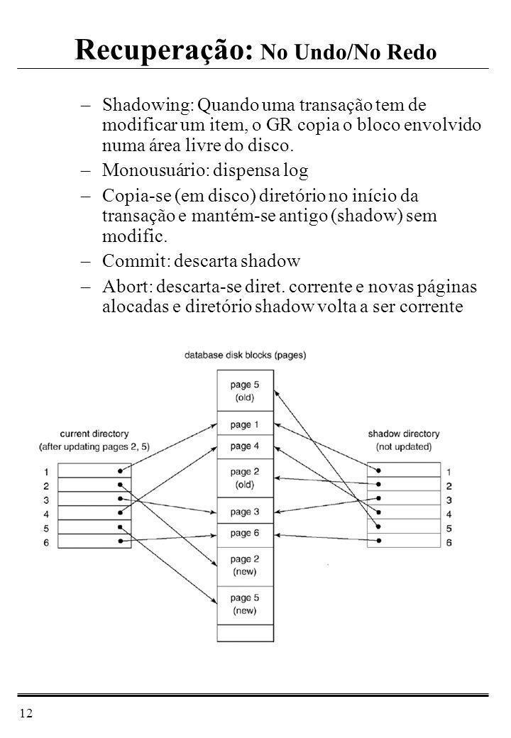 12 –Shadowing: Quando uma transação tem de modificar um item, o GR copia o bloco envolvido numa área livre do disco. –Monousuário: dispensa log –Copia