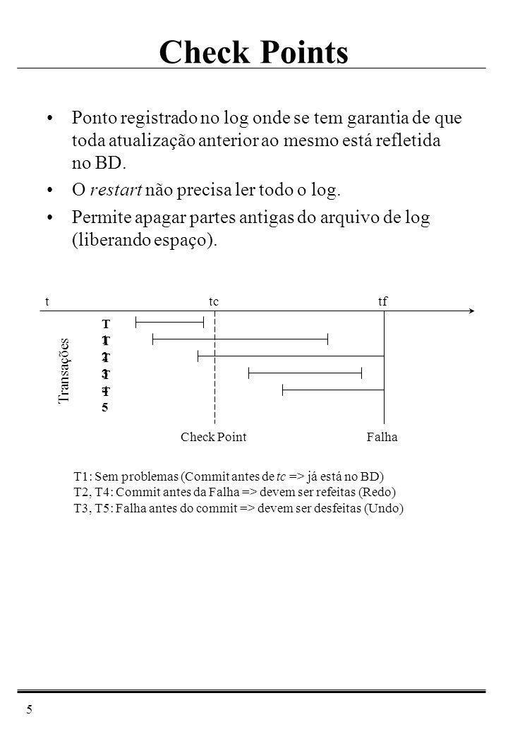 6 Dependência do Controle de Concorrência Atualização postergada (no undo/redo) –Os dados alterados por uma transação só podem ser refletidos no BD após o commit.