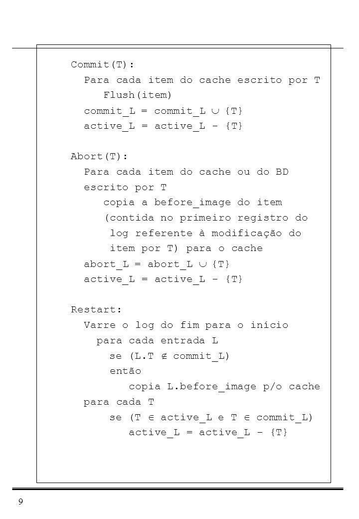 10 Undo/Redo: Mais flexível: O controlador do buffer pool tem total liberdade para escrever os blocos p/o disco quando lhe convier.