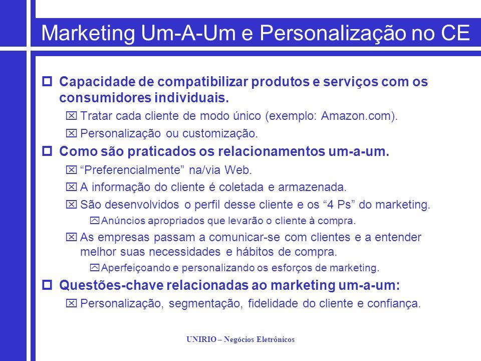 UNIRIO – Negócios Eletrônicos Marketing Um-A-Um e Personalização no CE Capacidade de compatibilizar produtos e serviços com os consumidores individuai