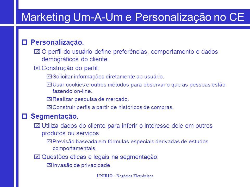 UNIRIO – Negócios Eletrônicos Marketing Um-A-Um e Personalização no CE Personalização. O perfil do usuário define preferências, comportamento e dados