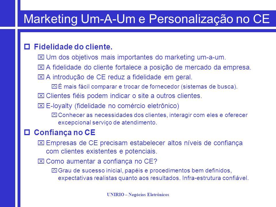 UNIRIO – Negócios Eletrônicos Marketing Um-A-Um e Personalização no CE Fidelidade do cliente. Um dos objetivos mais importantes do marketing um-a-um.