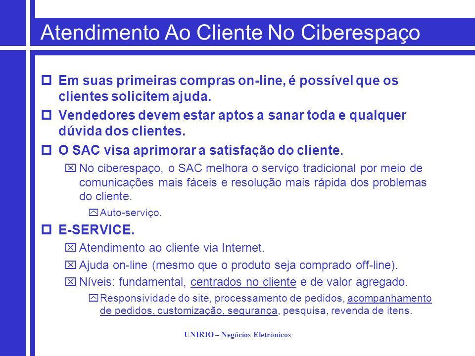 UNIRIO – Negócios Eletrônicos Atendimento Ao Cliente No Ciberespaço Em suas primeiras compras on-line, é possível que os clientes solicitem ajuda. Ven