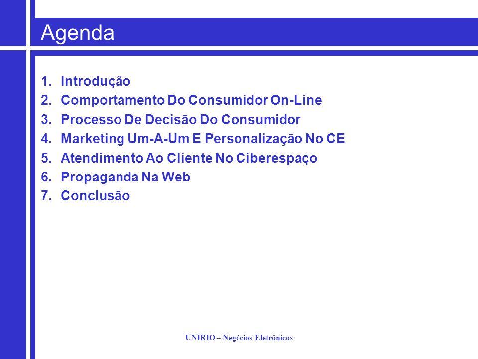 UNIRIO – Negócios Eletrônicos Agenda 1.Introdução 2.Comportamento Do Consumidor On-Line 3.Processo De Decisão Do Consumidor 4.Marketing Um-A-Um E Pers