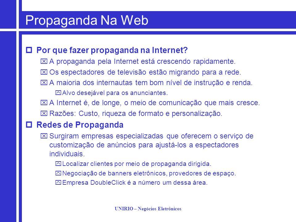 UNIRIO – Negócios Eletrônicos Propaganda Na Web Por que fazer propaganda na Internet? A propaganda pela Internet está crescendo rapidamente. Os espect
