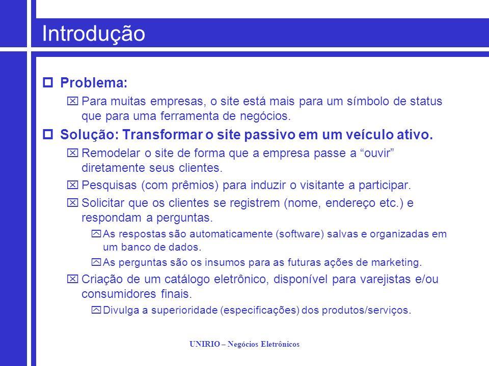 UNIRIO – Negócios Eletrônicos Introdução Problema: Para muitas empresas, o site está mais para um símbolo de status que para uma ferramenta de negócio