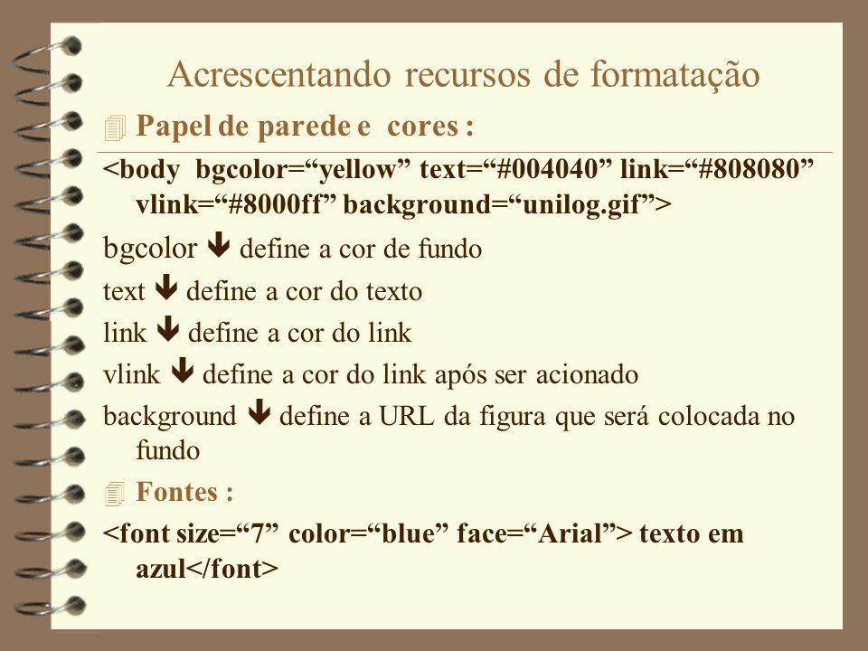 Comandos HTML 4 O Comando para criar Títulos Formato : texto do cabeçalho onde n deve ser substituído por um número de 1 a 6.