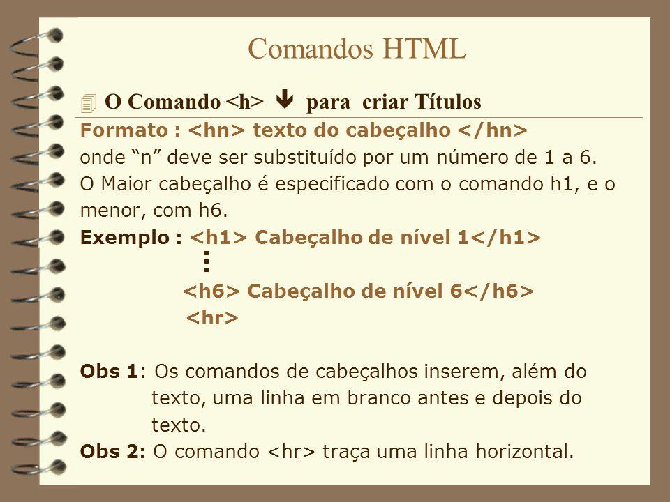 Comandos HTML 4 O Comando para criar Parágrafo Formato : texto do parágrafo Exemplo : Exemplo de parágrafo A linguagem HTML ignora a tecla enter no final da linha.