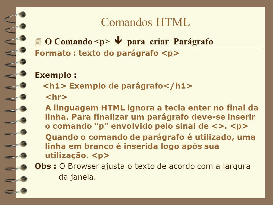 Comandos HTML 4 O Comando para quebrar linha e continuar na linha seguinte Formato : texto Exemplo : Exemplo de quebra de linha Quando se deseja que o texto continue na próxima linha deve-se utilizar o para obter esse efeito.