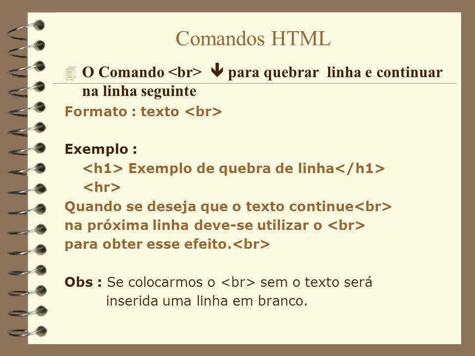 Comandos HTML 4 O Comando e para criar uma lista não ordenada Formato : texto do item texto do item 4 O Comando e para criar uma lista ordenada Formato : texto do item