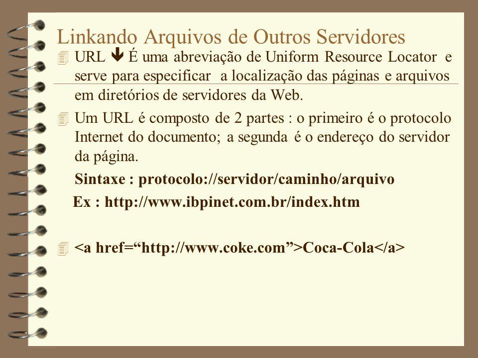 Linkando Arquivos de Outros Servidores 4 URL É uma abreviação de Uniform Resource Locator e serve para especificar a localização das páginas e arquivo