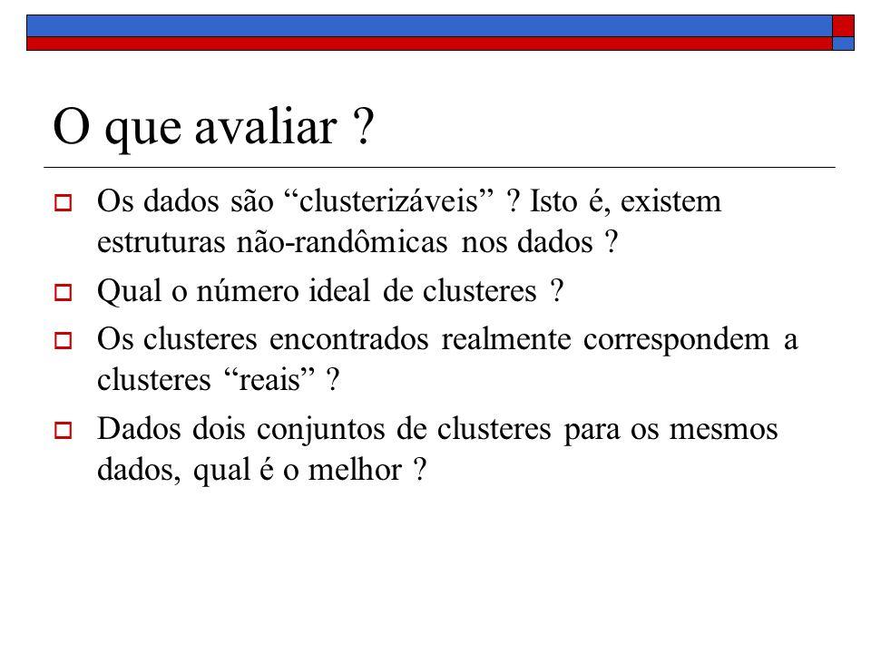 Exercício 1 Considere o seguinte conjunto de objetos D = {(1,2), (1.3, 2.5), (2,2.2), (5,1), (5.5, 1.3), (5.3,2.4)} Considere C = {C1, C2} onde C1 = {(1,2), (1.3, 2.5), (2,2.2)} C2 = {(5,1), (5,5, 1,3), (5,3.2,4)} Calcule a coesão e separação do conjunto de clusteres C, utilizando as medidas SSE e SSB respectivamente.