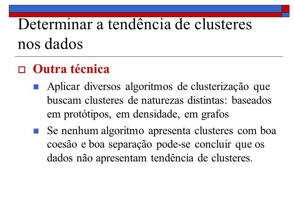 Determinar a tendência de clusteres nos dados Outra técnica Aplicar diversos algoritmos de clusterização que buscam clusteres de naturezas distintas: