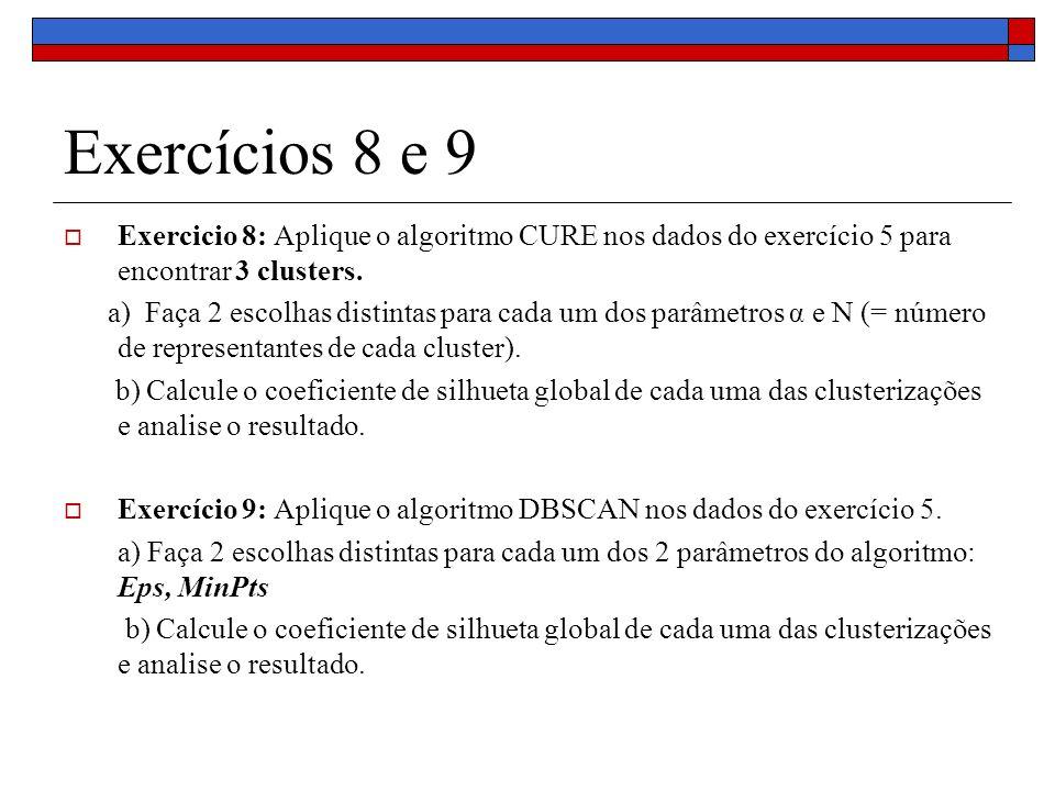 Exercícios 8 e 9 Exercicio 8: Aplique o algoritmo CURE nos dados do exercício 5 para encontrar 3 clusters. a) Faça 2 escolhas distintas para cada um d