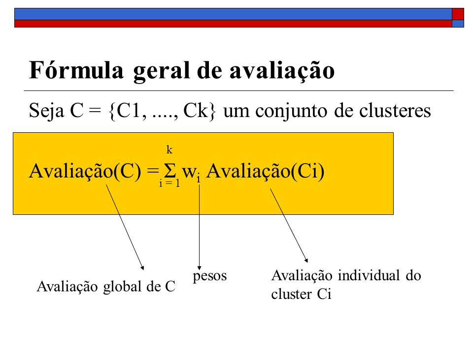 Seja C = {C1,...., Ck} um conjunto de clusteres Avaliação(C) = Σ w i Avaliação(Ci) Fórmula geral de avaliação i = 1 k Avaliação global de C pesosAvali