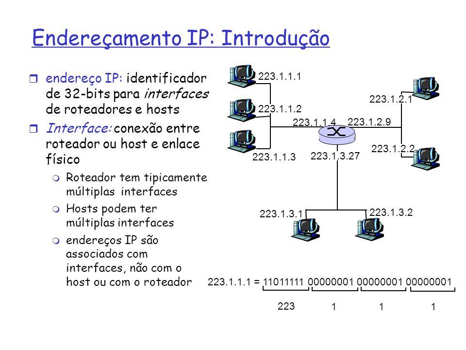 Endereçamento IP: Introdução endereço IP: identificador de 32-bits para interfaces de roteadores e hosts Interface: conexão entre roteador ou host e e