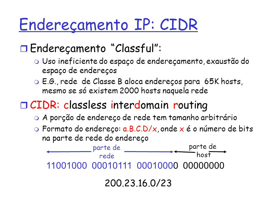 Endereçamento IP: CIDR Endereçamento Classful: Uso ineficiente do espaço de endereçamento, exaustão do espaço de endereços E.G., rede de Classe B aloc