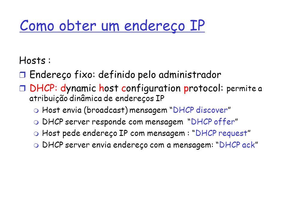 Como obter um endereço IP Hosts : Endereço fixo: definido pelo administrador DHCP: dynamic host configuration protocol: permite a atribuição dinâmica