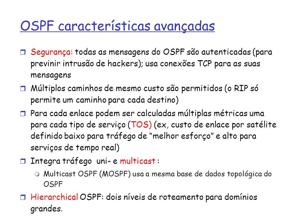 OSPF características avançadas Segurança: todas as mensagens do OSPF são autenticadas (para previnir intrusão de hackers); usa conexões TCP para as su