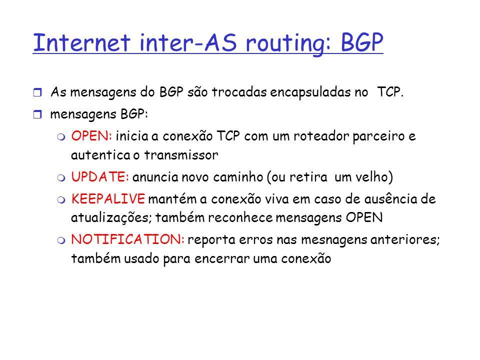 Internet inter-AS routing: BGP As mensagens do BGP são trocadas encapsuladas no TCP. mensagens BGP: OPEN: inicia a conexão TCP com um roteador parceir