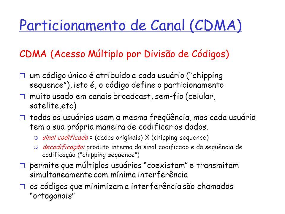 Particionamento de Canal (CDMA) CDMA (Acesso Múltiplo por Divisão de Códigos) um código único é atribuído a cada usuário (chipping sequence), isto é,