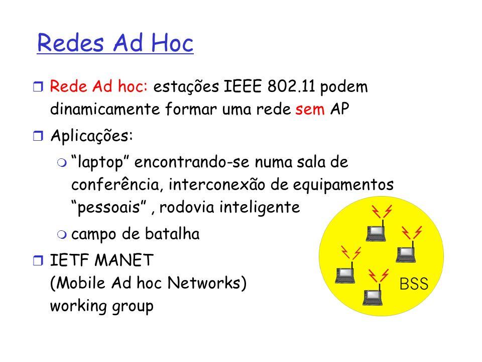 Redes Ad Hoc Rede Ad hoc: estações IEEE 802.11 podem dinamicamente formar uma rede sem AP Aplicações: laptop encontrando-se numa sala de conferência,
