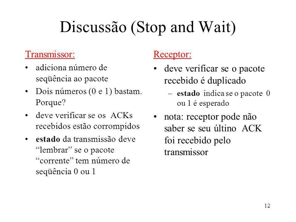 12 Discussão (Stop and Wait) Transmissor: adiciona número de seqüência ao pacote Dois números (0 e 1) bastam. Porque? deve verificar se os ACKs recebi