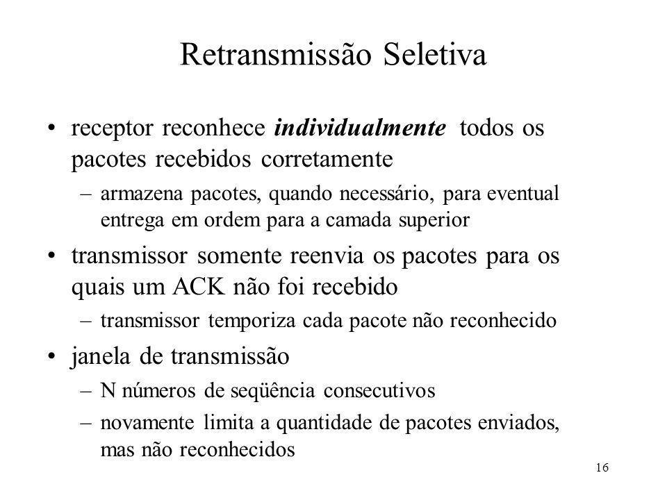 16 Retransmissão Seletiva receptor reconhece individualmente todos os pacotes recebidos corretamente –armazena pacotes, quando necessário, para eventu