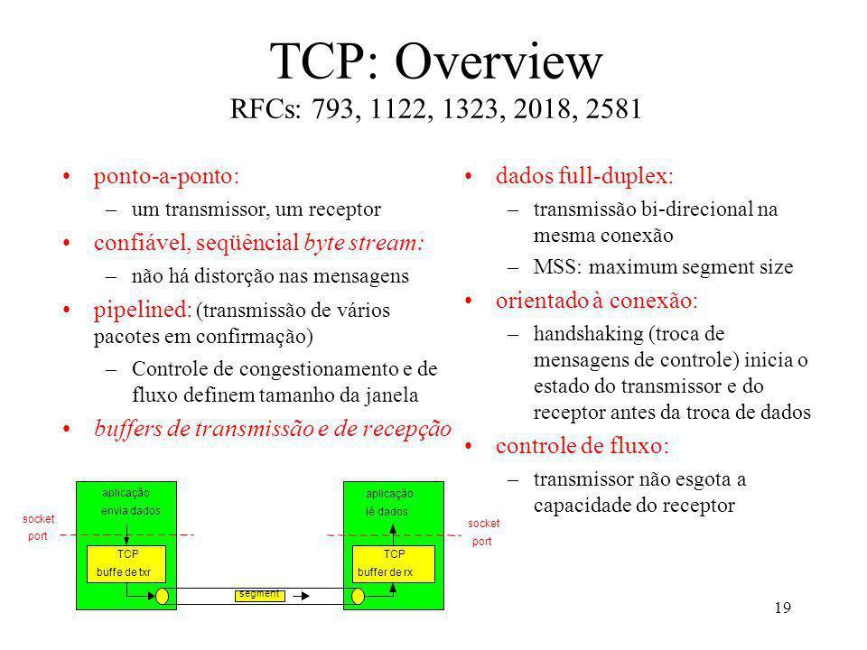 19 TCP: Overview RFCs: 793, 1122, 1323, 2018, 2581 dados full-duplex: –transmissão bi-direcional na mesma conexão –MSS: maximum segment size orientado