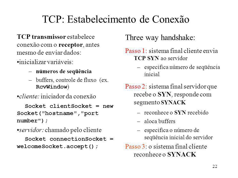 22 TCP: Estabelecimento de Conexão TCP transmissor estabelece conexão com o receptor, antes mesmo de enviar dados: inicializar variáveis: –números de