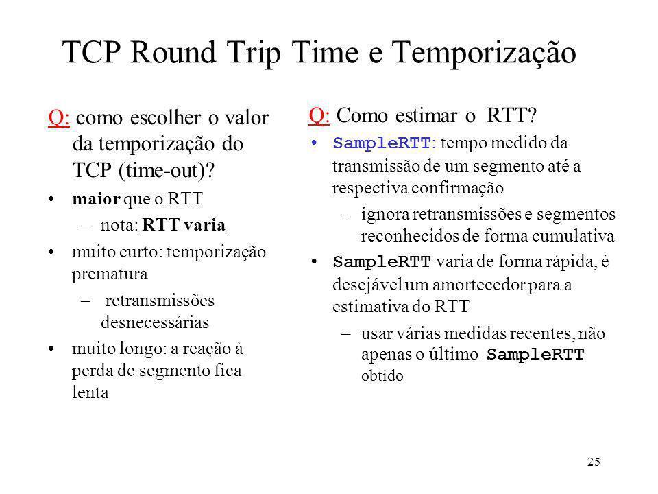 25 TCP Round Trip Time e Temporização Q: como escolher o valor da temporização do TCP (time-out)? maior que o RTT –nota: RTT varia muito curto: tempor