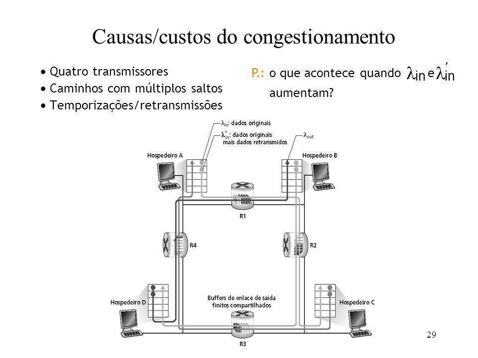 29 Quatro transmissores Caminhos com múltiplos saltos Temporizações/retransmissões in P.: o que acontece quando e aumentam? in Causas/custos do conges