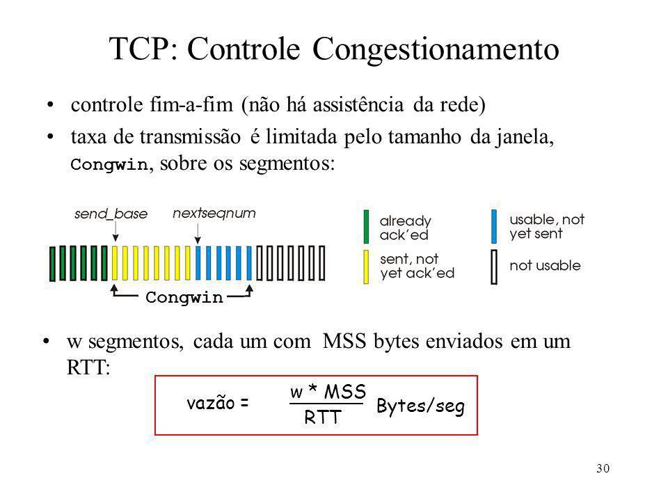 30 TCP: Controle Congestionamento controle fim-a-fim (não há assistência da rede) taxa de transmissão é limitada pelo tamanho da janela, Congwin, sobr